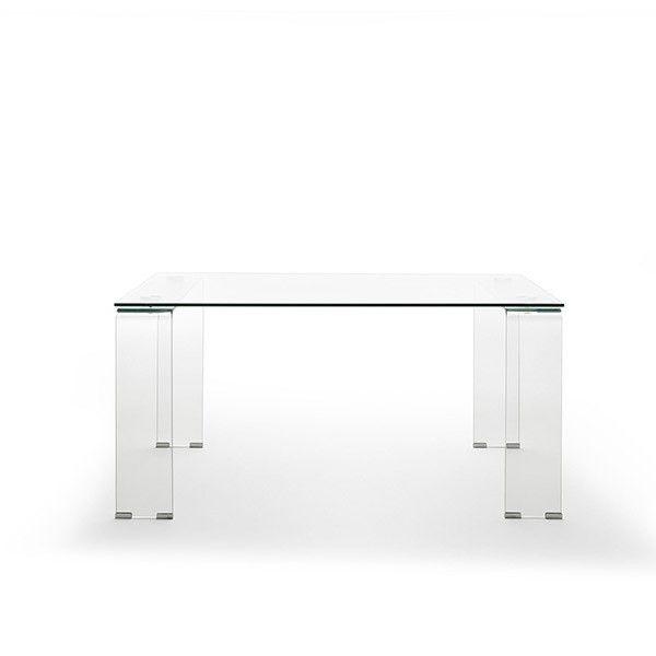 mesa rectangular cristal transparente